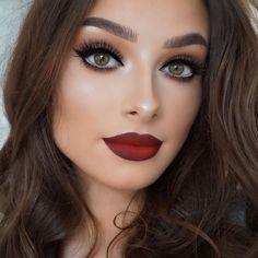 Resultado de imagen para maquillaje de dia con labios rojos