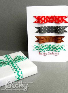 Washi tape bows for wrapping