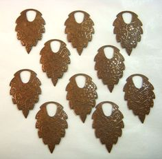 Chocolate Brass Texturized Leaf Pendants by bsueboutiquesupplies, $13.75   The embossed pattern is made from the old vintage jewelry tooling.