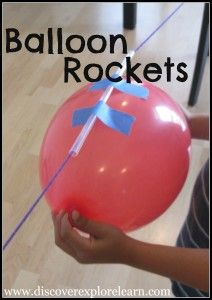 Balloon Rockets: What you need:  Piece of yarn (or string) – cut to about 6 feet, thread on a straw and tie string to two chairs. Put tape on straw to attach a Balloon that has been blown up but has not been tied. Pull attached balloon to one side and let go! Experiment shows action and reaction. Kids will want to do over and over so be prepared to blow up a few balloons and have extra tape on hand. Link leads to step by step instructions with a photo tutorial.
