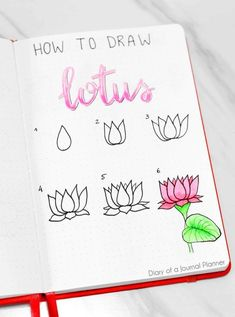 Find a huge list of flower doodle tutorials and step-by-step flower drawing ideas. From rose drawing to simple flower doodles for bullet journals and more. Bullet Journal Notebook, Bullet Journal Ideas Pages, Bullet Journal Inspiration, Bullet Journals, Flower Doodles, Doodle Flowers, Lotus Flowers, Draw Flowers, Flower Drawing Tutorials