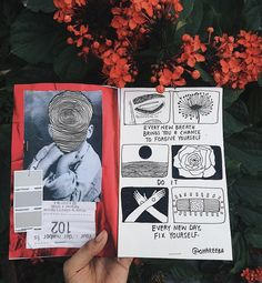 fix yourself!  // art journal, notebook, simple, illustration, black and white, drawings, journaling, scrapbooking, tumblr, red, aesthetics, grunge, creation //