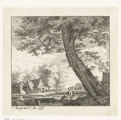 Johanna de Bruyn | Dorpsgezicht, Johanna de Bruyn, 1777 | Gezicht op een dorp. Een man met een kruiwagen wandelt op de weg langs de rivier. Op de achtergrond een andere wandelaar bij een boerderij.