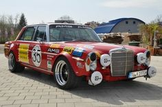 hoooo boy! smokin'!    1970 Mercedes Benz 300SEL Rote Saut Race Car Tribute For Sale Front