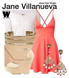 """""""Jane the Virgin"""" by wearwhatyouwatch ❤ liked on Polyvore featuring Nili Lotan, Bowie, Oasis, Oh My Love, Nly Shoes, television and wearwhatyouwatch"""