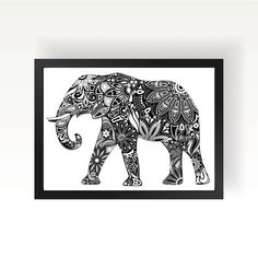 Elephant Doodle Art Print by theminifab on Etsy