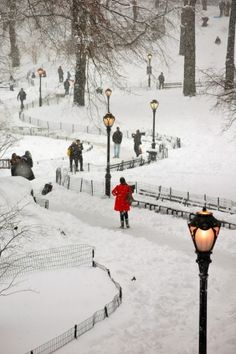 Central Park covered in snow, NYC. So gorgeous!