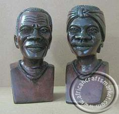 A magnificent pair of hand carved African heads, carved out of hard wood and polished off to a smooth polish. These two sculptures are are an African male and female Sculpture Art, Sculptures, Tribal Art, African Art, Hand Carved, Carving, Statue, Artwork, Work Of Art