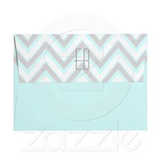 Modern chevron grey, aqua blue wedding envelope with initials.