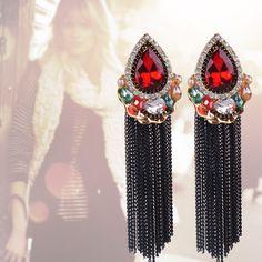 Free Shipping New Arrival Hot Sale Dangle Earring Long Tassel Crystal Drop Earring US $10.89