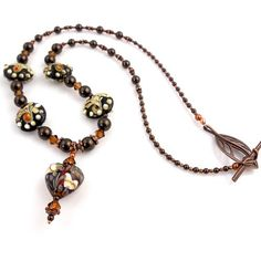 LIKE THE HEART PENDANT WITH BICONES...............................Brown Lampwork Necklace Pendant Necklace Beadwork by ramonahall, $95.00