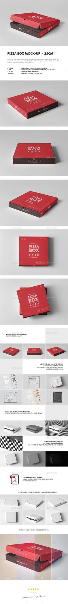 25 Pizza Box Mockup — Photoshop PSD #mockup #pizza package • Available here → https://graphicriver.net/item/25-pizza-box-mockup/19493295?ref=pxcr