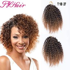 Ombre 8inch 3pcs/set Marlybob Crochet Braids Hair Curly Synthetic Braiding Hair Crochet Braid Hair Extensions Box Styles