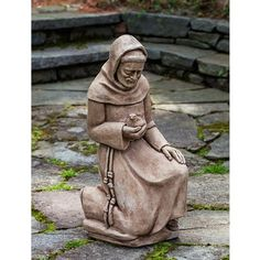 Kneeling St. Francis with Bird Statue R-116