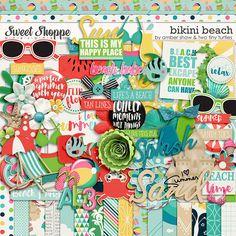 Bikini Beach by Amber Shaw & Two Tiny Turtles Beach Tan, Tiny Turtle, Sandy Toes, Ocean Themes, Tan Lines, Bikini Beach, Digital Scrapbooking, Kit, Make It Yourself