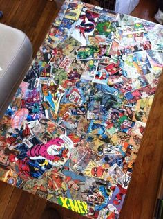thrifted table diy: comic book decoupage coffee table | comic book