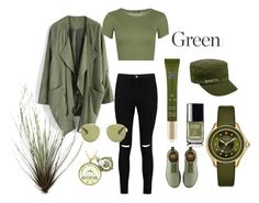 """Greeeeeen"" by capeloise ❤ liked on Polyvore featuring Chicwish, Boohoo, Harley-Davidson, Chanel, WearAll, Rituals, kangol, Michele and Dr. Martens"