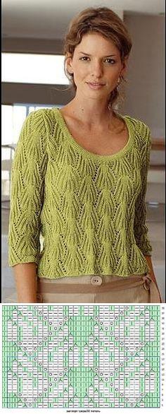 Очень красивый пуловер спицами.