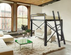 Our queen loft bed offers adults  a modern solution to the age old problem of space.