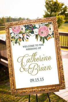 PRINTABLE - Blush and Gold Wedding Decor, Large Custom Wedding Sign, Vintage Wedding Decor, Summer Wedding, Art Deco Wedding, Welcome Sign