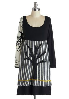 Autumn Silhouettes Dress by Heel Athens Lab - Knit, Mid-length, Black, Grey, White, Casual, Empire, Long Sleeve, Better, Scoop, Stripes, Novelty Print, Fall