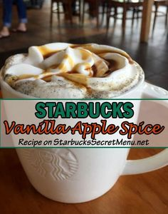 Warm, delicious blend of apple, vanilla and caramel! Warm, delicious blend of apple, vanilla and caramel! Healthy Starbucks Drinks, Starbucks Secret Menu Drinks, Starbucks Recipes, Coffee Recipes, Yummy Drinks, Yummy Food, Starbucks Smoothie, Starbucks Vanilla, Starbucks Coffee