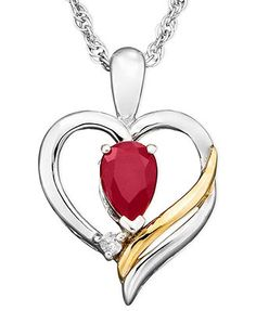 14k Gold and Sterling Silver Pendant, Ruby (1/2 ct. t.w.) and Diamond Accent