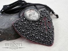 pedant, beadembroidery, jasper, beads, seed beads, made in poland, made by miidori Gaia, Beadwork, Poland, Jasper, Seed Beads, How To Make, Fashion, Moda, Fashion Styles