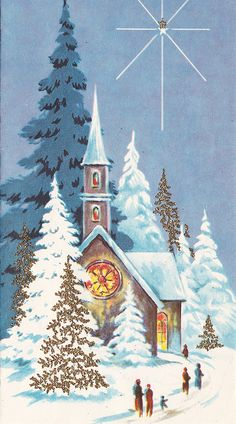 Vintage Christmas Card:  People walking to snow-covered church at night - bright star above