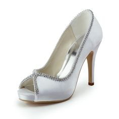 "Dyeable Gorgeous 4"" Rhinestones Chain Peep-toe Pumps - Ivory Satin Wedding Shoes (11 colors)"