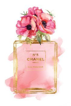 Chanel No5 Printed fashion poster watercolor red by hellomrmoon