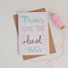 Mothers Day Card Grey Polka Dots Hand by HannahStevensShop on Etsy