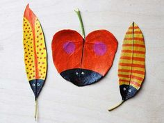 bright painting ideas for dry leaf decorating