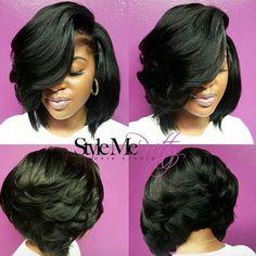 Love this voluminous bob via @cocostylezem - Black Hair Information