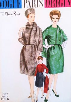 1960s NINA RICCI Elegant Suit and Scarf Pattern VOGUE Paris Original 1046 Day or Evening Elegant Suit Bust 34 Vintage Sewing Pattern