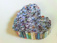 Recycled Magazine Heart Art frame it..