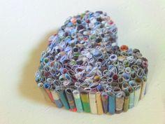 Recycled Magazine Heart Art frame it..