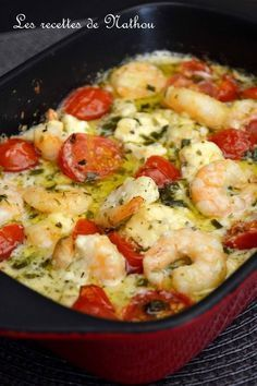 My cooking over my ideas .: Scampi with garlic, feta and cherry tomatoes .- My cooking over my ideas …: Scampi with garlic, … - Fish Recipes, Seafood Recipes, Cooking Recipes, Healthy Recipes, Pasta Recipes, Food Porn, Healthy Family Dinners, Health Dinner, Best Dinner Recipes