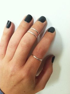 Knuckle rings and dark polish. Dark grey polish with silver rings always is my go-to look