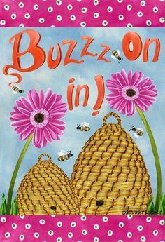 Buzzed bees illustration art by Jennifer Lambein via www.Facebook.com/JenniferLambeinStudioPetite