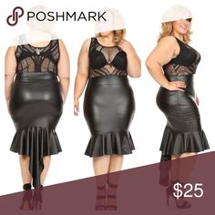 Mermaid Heaven Sleeveless BodyCon Dress with a sheer crochet bodice and contrast Faux leather mermaid skirt; Plus Sizes: 1X(14/16), 2X(18/20), 3X(22/24) Dresses Midi