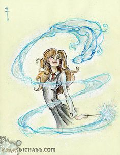 Day 23: Favorite Patronus Hermione's Patronus, an Otter, is my absolute favorite. I also love how the otter is part of the weasel family and Ron's Patronus, a Jack Russell Terrier, is notorious for catching otters. Coincidence? I think not! ;)
