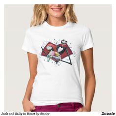 Jack Skellington y Sally en corazón Playera #camiseta #tshirt