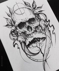 New Tattoo Designs Skull Drawings Ideas Evil Skull Tattoo, Skull Tattoo Design, Skull Tattoos, Black Tattoos, Body Art Tattoos, Sleeve Tattoos, Tattoo Designs, Tatoos, Tattoo Sketches
