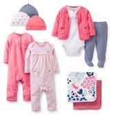 With this Precious Prints gift set she's ready for anything. Hats and blankets keep her warm, 2 jumpsuits and outfit set are easy outfits.