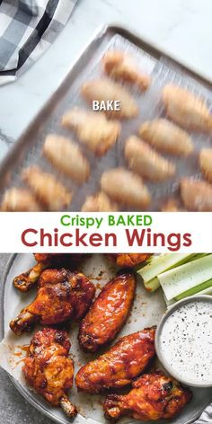 Crispy Baked Chicken Wings Crispy oven Baked Chicken Wings are so easy to prepare and you don't have to bother with all the grease from frying! A healthier yet delicious way to enjoy wings! Easy Chicken Dinner Recipes, Baked Chicken Recipes, Appetizer Recipes, Easy Meals, Chicken Wing Recipes Healthy, Chicken Drummettes Recipes, Best Chicken Wing Recipe, Healthy Baked Chicken, Chicken Appetizers