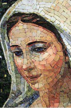 Gorgeous Madonna mosaic Would love to credit the artist but sad to say there is no info on who it is. Mosaic Crafts, Mosaic Projects, Paper Mosaic, Catholic Art, Religious Art, Mosaic Glass, Glass Art, Stained Glass, Art Pierre