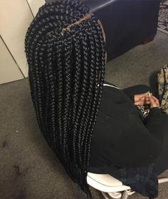 Jumbo box braids w/side part