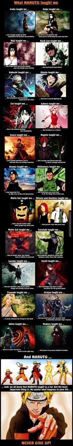 """Correction : Kakashi taught me how to be awesome. Naruto taught me how to be friendly. Madara taught me how to be badass. Shikamaru taught me how to be smart. Sasuke taught me how to be a emo, And Sakura. Sakura taught me how to be useless :')"" Sasuke Sakura, Naruto Uzumaki, Anime Naruto, Boruto, Gaara, Shikamaru, Naruto Art, Manga Anime, Naruhina"
