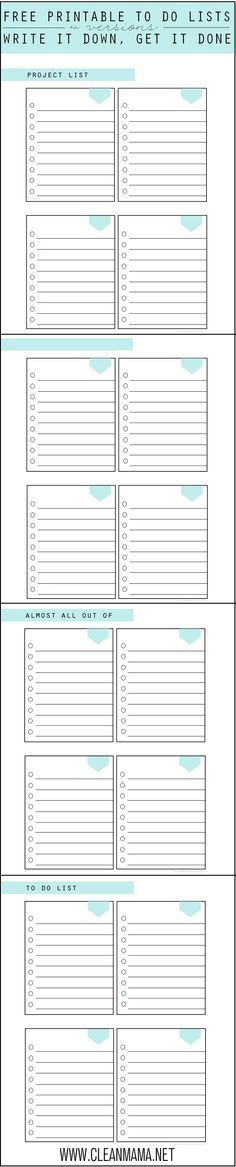 Need a simple and highly functional list?Print out these FREE printable to take care of all your list making.